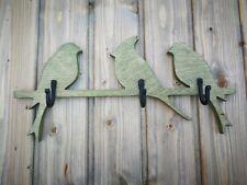 Handmade wooden wall mount coat rack Birds with 3 hooks in 1 of 6 Colors