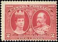 Canada #98 mint F OG NH 1908 Quebec 2c carmine KEVII & Queen Alexandra CV$30.00