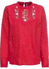 Bluse mit Stickerei Gr. 40 Rot Damen Langarmbluse Shirt Tunika Oberteil Neu