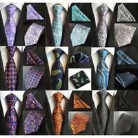 Mens 100% Silk Tie Handkerchief Pocket Square Set Striped Paisley Wedding Sets