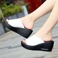 Women's Casual High Wedge Heels Slippers Slip On Shoes Platform Creepers Sandals