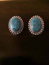 Vintage Silver Tone Faux Turquoise Oval Clip On Earrings Unsigned