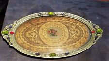Antique Jeweled Vanity Tray With Lace Insert