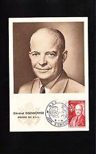General Eisenhower Monaco Maximum Postcard Unused In Mail First Day 1956  ^