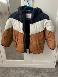 Zara Boys Jacket Brown White Black Size 4 - 5 Years