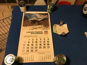 "vintage 1973 full year Union Pacific Railroad Train Color Calendar  23""x12.5"""