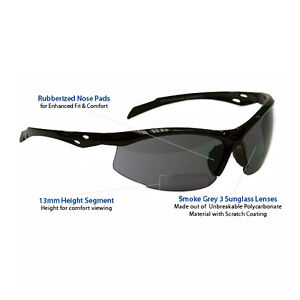 +3.0 Diopter Bifocal Safety Glasses: Smoke Grey Lenses, Sunglasses, w/ Cheaters