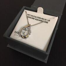 "Aquamarine & Diamond Teardrop Pendant Necklace - 10KT Gold & Sterling Silver 18"""