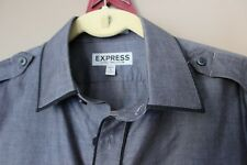 Men's Express Fitted 14-14.5 Small Gray G.I. Shirt w/ Black Trim Cotton RB13