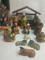 Home for the Holidays Christmas 14 Piece Painted Porcelain Nativity Set