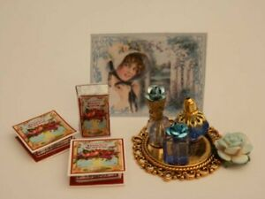 Dolls house: 1/12th Handmade blue themed ladies perfumes & soap boxes -By Fran