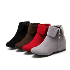 Women's Suede Ankle Boots Hidden Heel Top Lapel Side Zipper Warm Round Toe Shoes