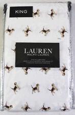Ralph Lauren Two King Pillowcases White Dog Animal Print Cotton Bedding Decor