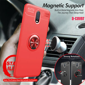 Car Magnetic 360° Ring Stand Silicone PC Back Case Cover Fr OnePlus 7 Pro/7/6T/6