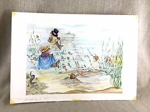 1990 Originale Grafica Illustrazione Pittura per Bambini Libro Fantasia Art Fish