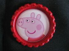 flattened bottle cap embellishment peppa pig hair scrapbook card ribbon red