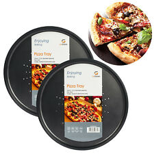 Set of 2 Round Vented Pizza Trays Non Stick Dish Oven Baking Tray Crisper Pan