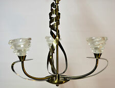 OAKS KIRBA CONTEMPORARY 3 LIGHT ANTIQUE BRASS CEILING FITTING WITH CHAIN