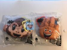 NIP NEW 2017 McDonalds Happy Meal Toy Emoji Movie Plush #2 & #3 Hi5 and Monkey