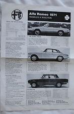 ALFA ROMEO 1750 INJECTION 1971 Range brochure sales catalog CANADIAN MARKET