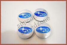 4PCS Silver Blue Wheel Hub Center Caps Fit For 2006-15 Subaru #28821SA030