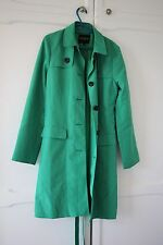 HOBBS Bright Emerald Green Coat Long Lightweight Small 10 Black Buttons