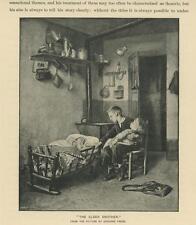 ANTIQUE OLDER BROTHER CHILD TODDLER INFANT CRADLE POTS PANS RUSTIC HOUSE PRINT