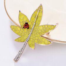 Yellow Leaf Ladybug Austrian Rhinestone Crystal Enamel Brooch Pin Animals K05789