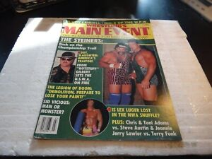 Wrestling's main event magazine march 1991 colour pin up the steiners wwe wcw