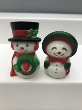 Vintage Hallmark Christmas Merry Miniatures - Mr. and Mrs. Snowman set