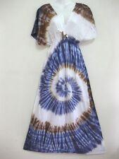 New Women Tie Dye V Neck Dress Maxi Spiral Sundress Bohemian Gypsy sleeve TDMD