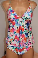 NWT Kenneth Cole Swimsuit Bikini Tankini 2pc Set Sz M Multi