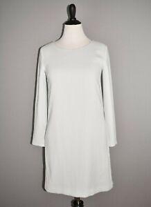 THEORY NEW $395 Long Sleeve Paneled Shift Dress in Silver Ice Medium