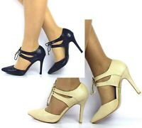 Ladies Womens High Stiletto Heel Lace Up Sandals Pointed Toe Shoes Size 3-8