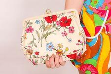 vintage ALMONDO flower print clutch bag poppies roses floral print