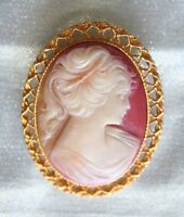"""Elegant Victorian Style Cameo Gold-tone Brooch 1960s vintage  2"""""""