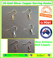 20x Silver Gold Red Copper Earring Hook Hooks Coil Ear Wire Backs Posts Findings