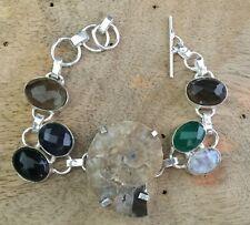 Mop With Multi Color Quartz Handmade Gemstone Bracelet 925 Silver Plated Jewelry