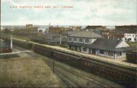 North Bay Ontario CPR RR Train Station c1915 Postcard