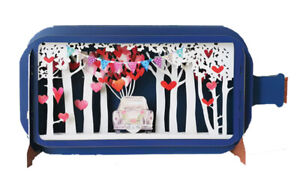 Message In A Bottle  3D Pop Up Wedding Card - A Hearts and trees  Design (P8)