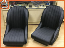 Pair BB Vintage Classic Car Bucket Seats Low Rounded Back Ideal For MG MIDGET