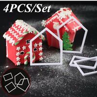 4PCS Gingerbread House Mold Cookie Cutter Chocolate Baking Mould Christmas Gift