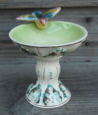 VTG Bird on Birdbath Italian Pottery Italy Ceramic Candleholder Potpourri Bowl