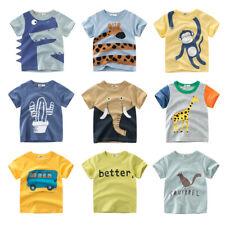 Cartoon Print Baby Boys Dinosaur Baby Shark Lion T Shirt Tops Tee Summer Kids