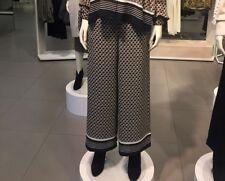 Trendy H&M BLACK PATTERN WIDE LEG HIGH WAIST PANTS TROUSERS US 6 UK 12