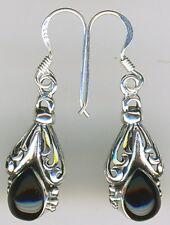 """925 Sterling Silver Black Onyx Drop / Dangle  Earrings  Length  1.3/8"""" 35mm"""