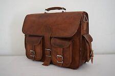 Vintage Leather Briefcase Messenger Bag Satchel 15 Inch Laptop Shoulder Bag