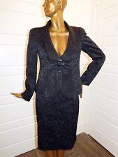 New Armani Collezioni Italy Black Brocade Skirt Suit sz 12/10 $1805rt
