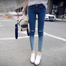 Women Lady Washed Blue Denim Destroyed Hole Slim Skinny Ninth Pant Crop Jeans