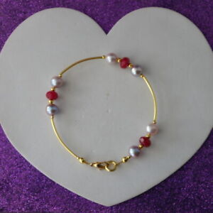 """Beautiful Gold Plated Bracelet With Ruby Gems & Pearls 8"""" Inch Long In Gift Box"""